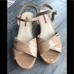 Prada Nude Wedges with Logo
